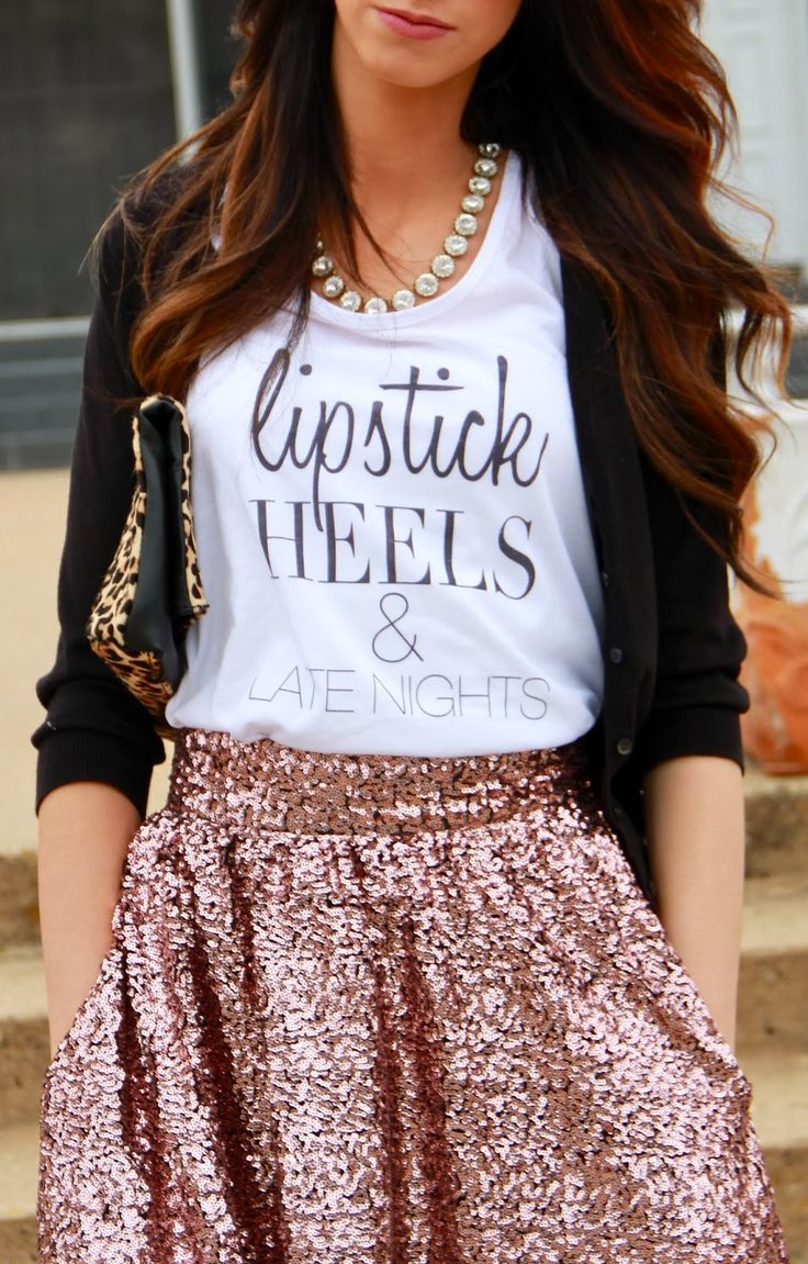 Tank top and sequin skirt