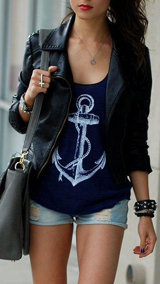 Tank top with leather jacket