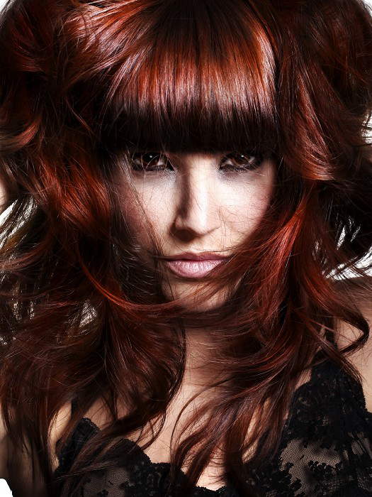 Voluminous auburn hair