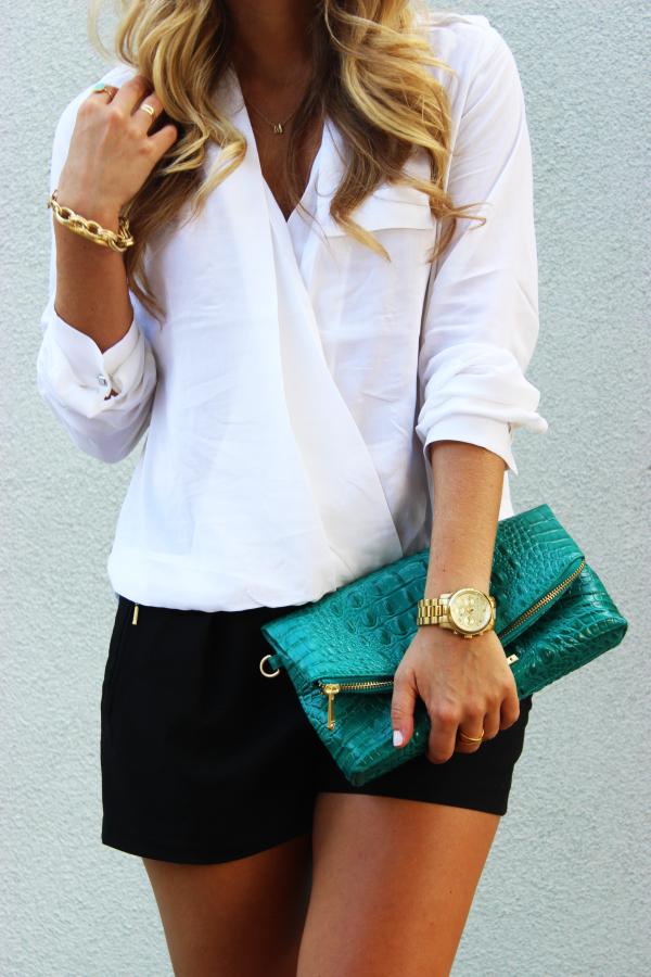 White blouse and black shorts