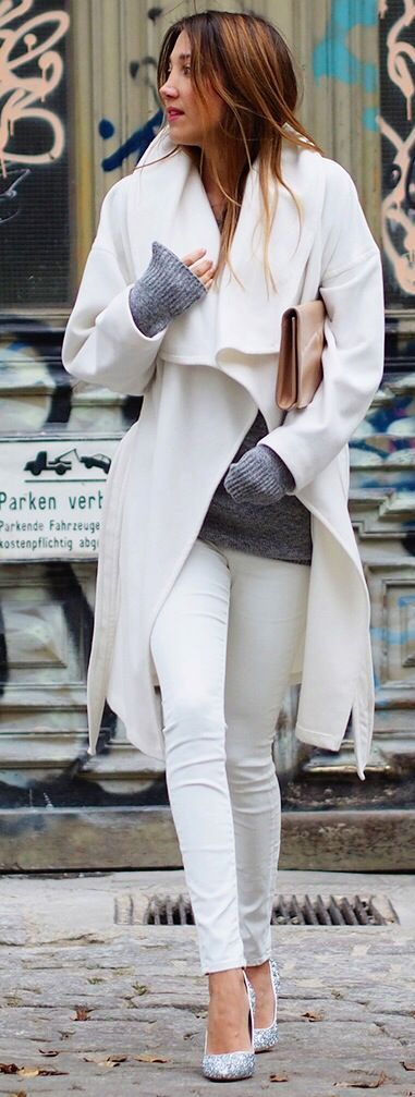 White coat and white pants