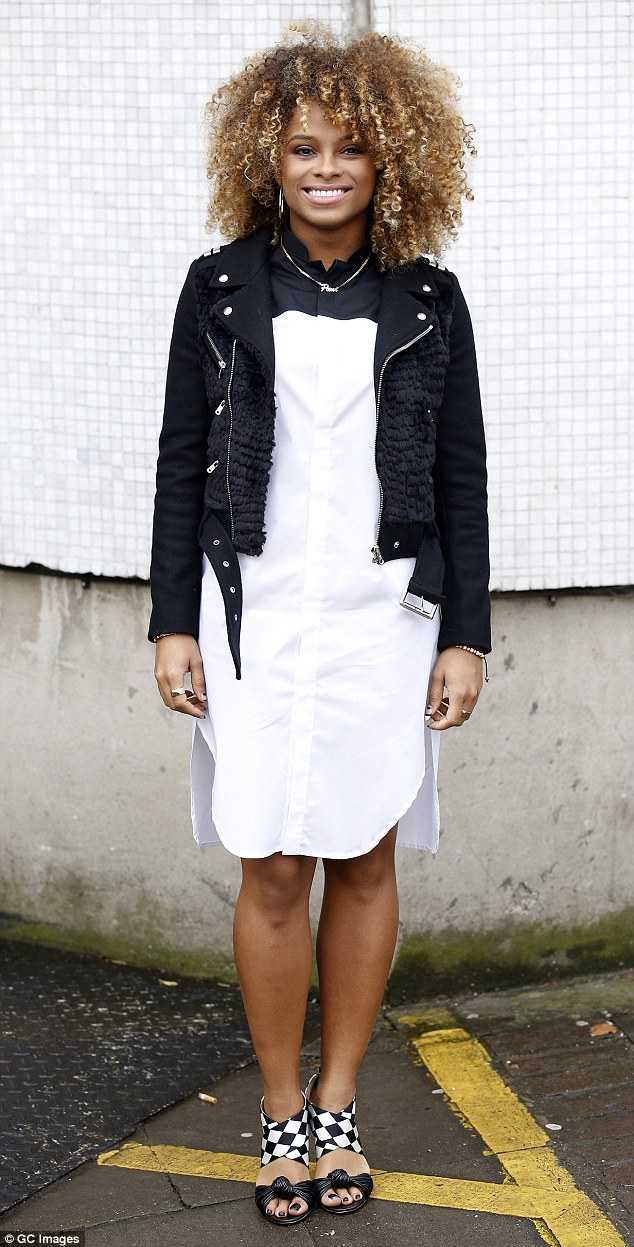 White shirt dress and black leather jacket