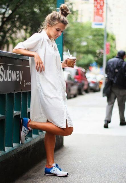 White shirt dress and sneakers