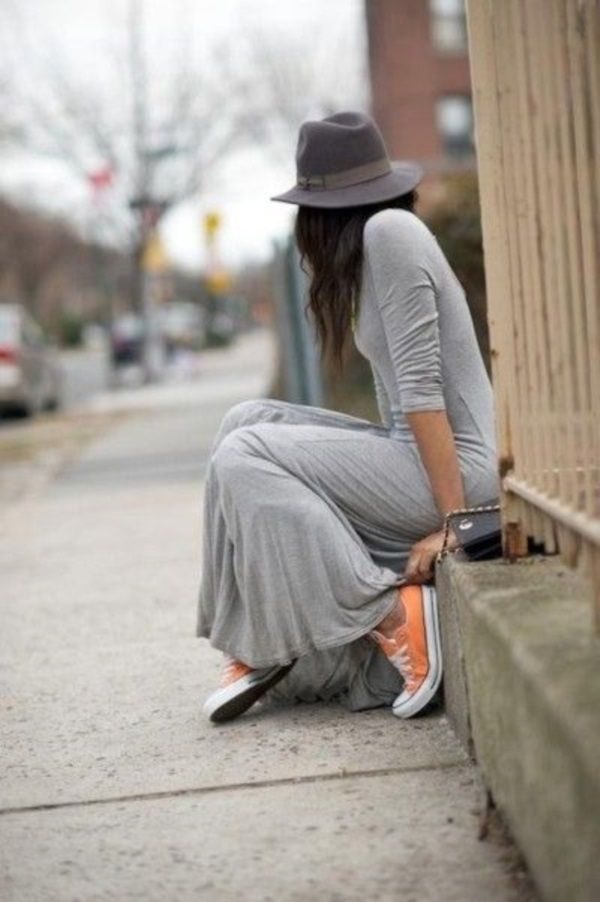 With a maxi dress and hat