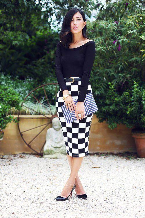Checkered Pencil Skirt Outfit
