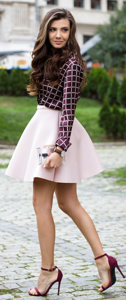 Lovely White Skirt with Checkered Shirt