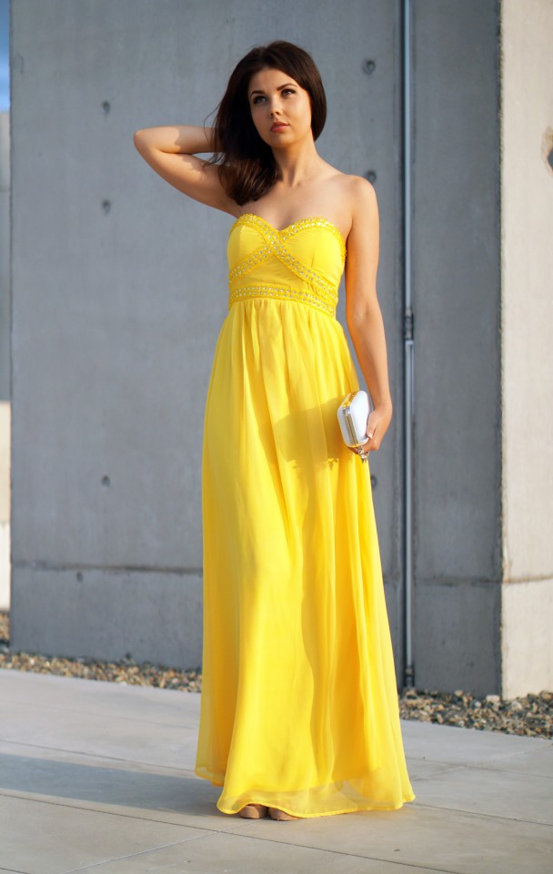Strapless Yellow Maxi Dress