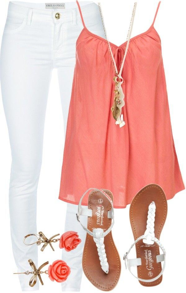 Coral Top with White Jeans for Summer