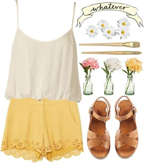 White and Yellow Outfit for Summer