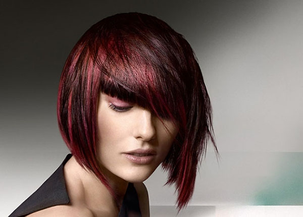 A-line bob with red highlights