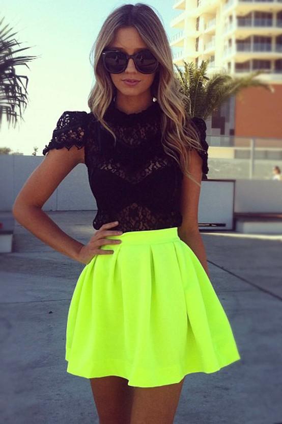 A neon skater skirt