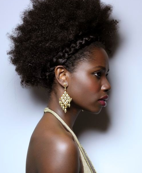 Afro with braid crown