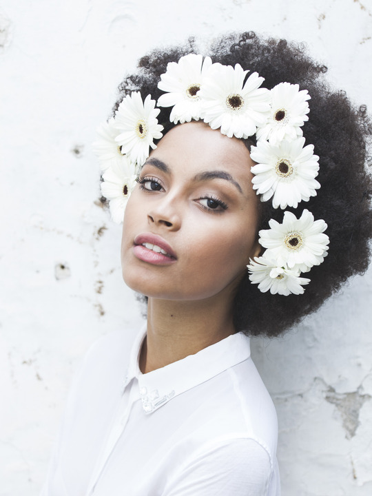 Afro with flowers