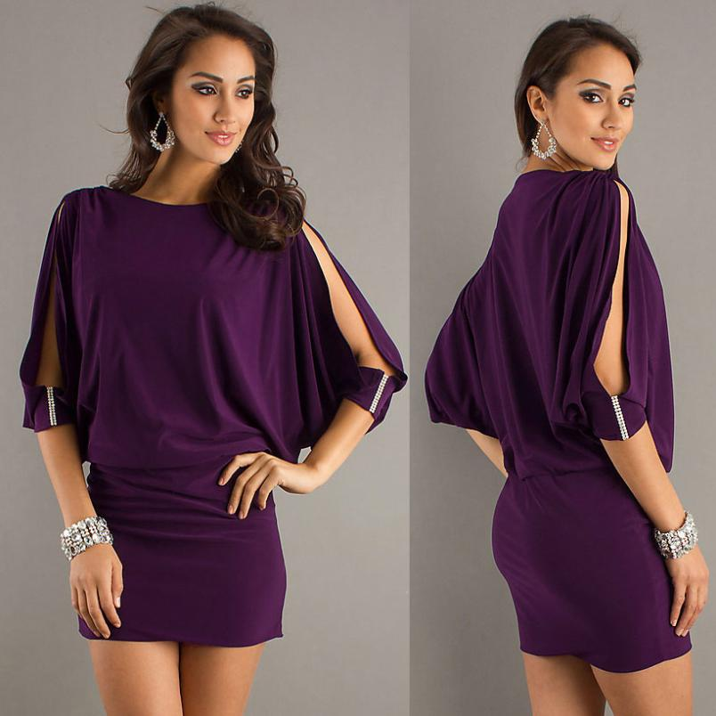 Amethyst orchid split sleeve dress