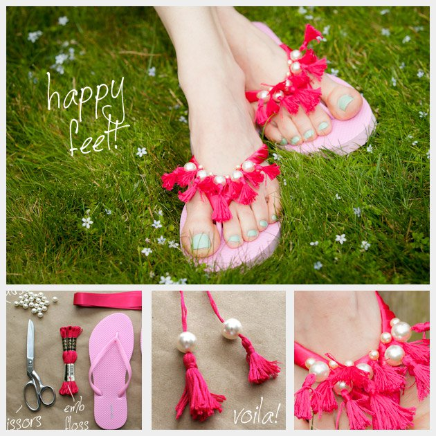 Beautiful DIY Pink Slippers with Pearls and Fringes
