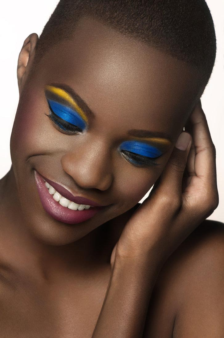 Blue and yellow eye shadow