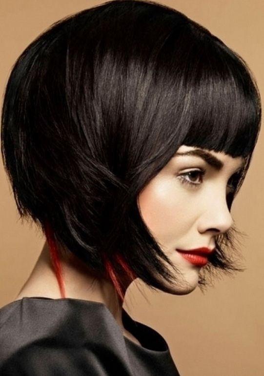 Blunt bob with peaks of color