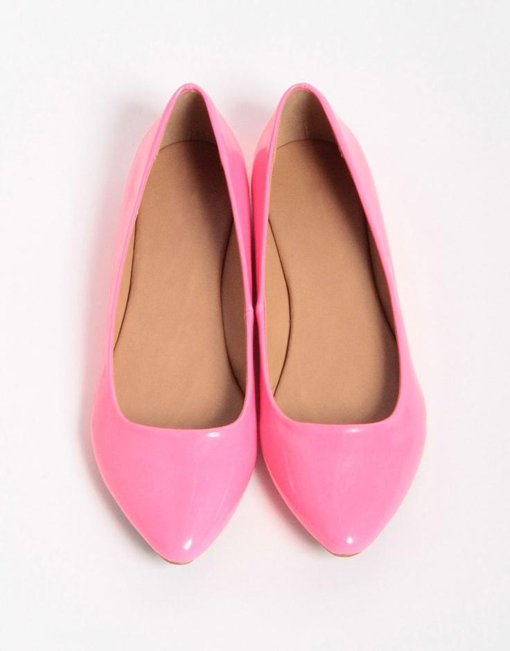 Bubblegum pink flats