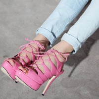 Bubblegum pink lace-up heels