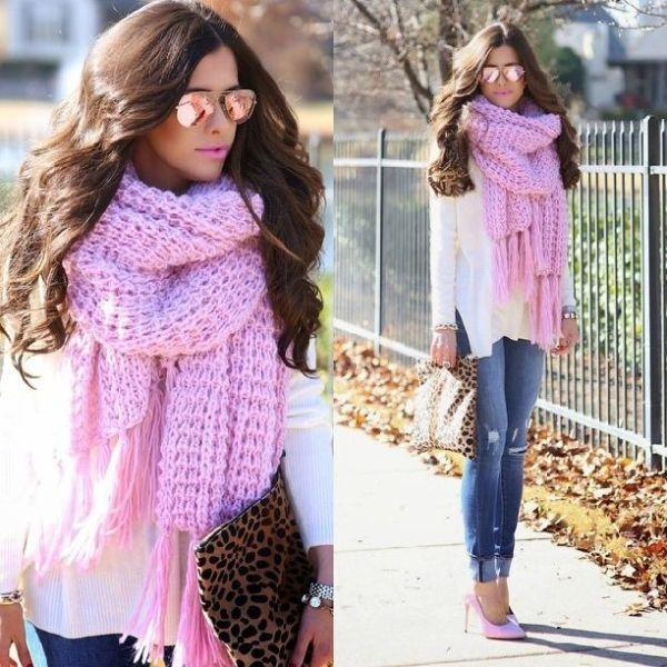 Bubblegum pink scarf
