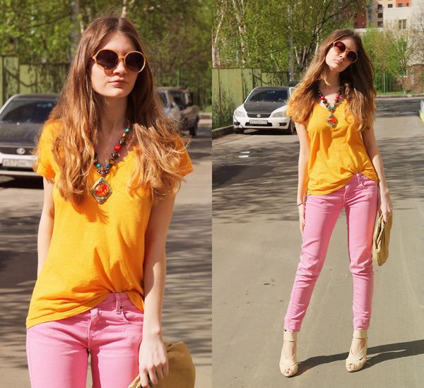 Bubblegum pink skinny jeans
