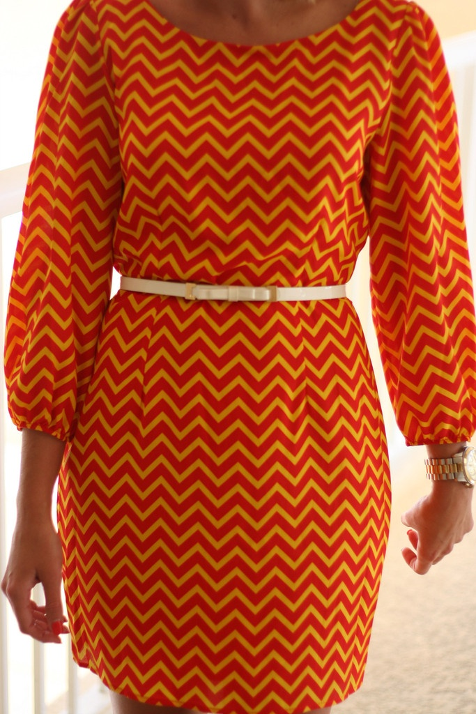 Cadmium orange chevron dress