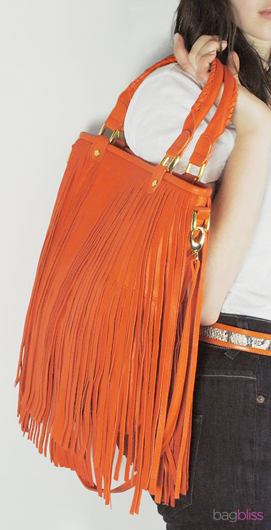 Cadmium orange fringe purse