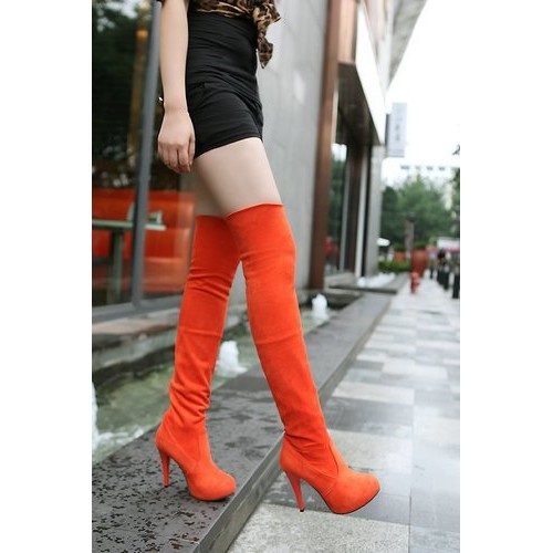 Cadmium orange over-the-knee boots