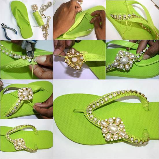 Chic DIY Pearl Slippers