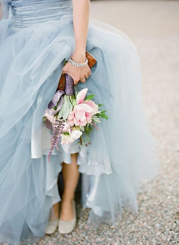 Custom blue wedding dress