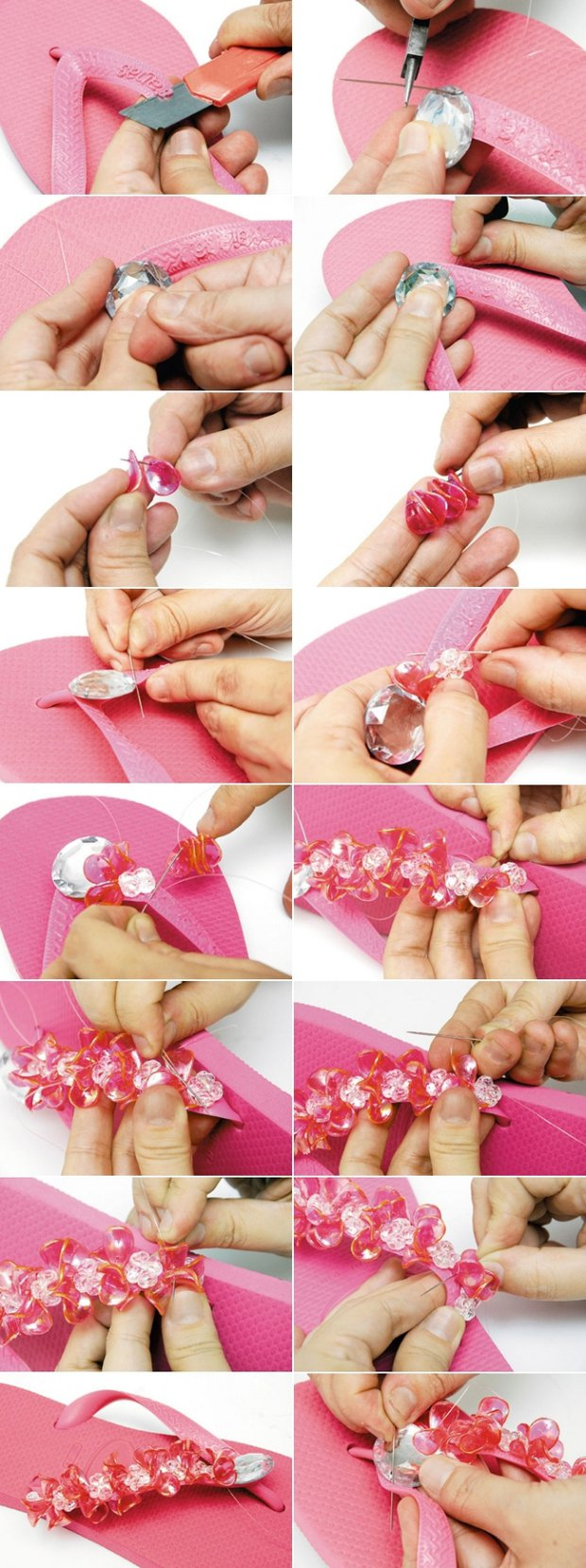 DIY Beads Embellished Flip-flops