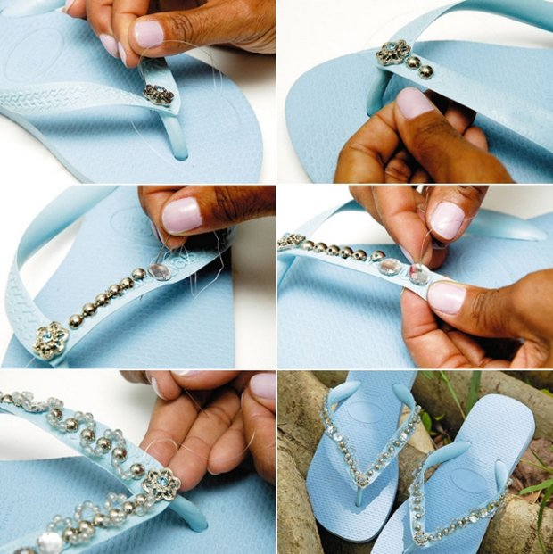 DIY Embellished Rubber Slippers