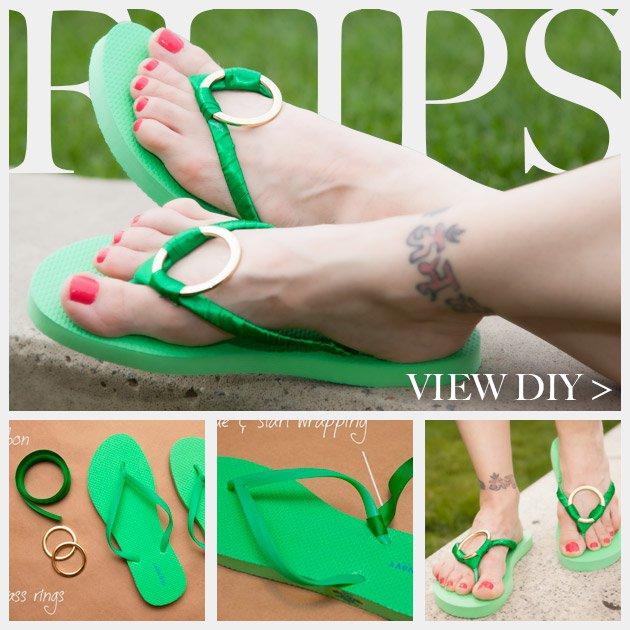 DIY Flip-flops Tutorial with Metallic Ring