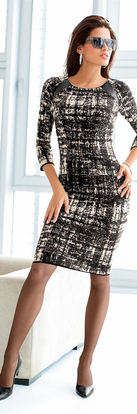 Dress with leather accents
