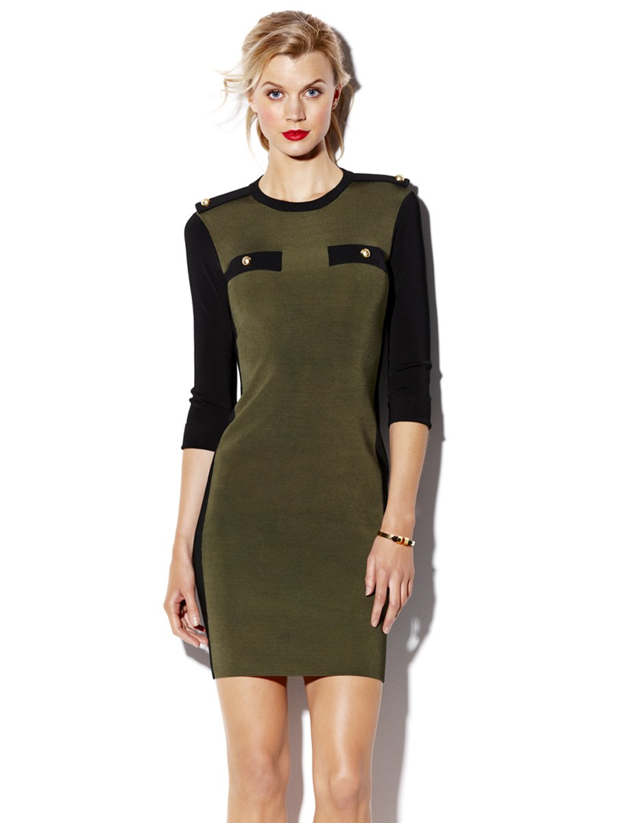 Dried herb military sweater dress