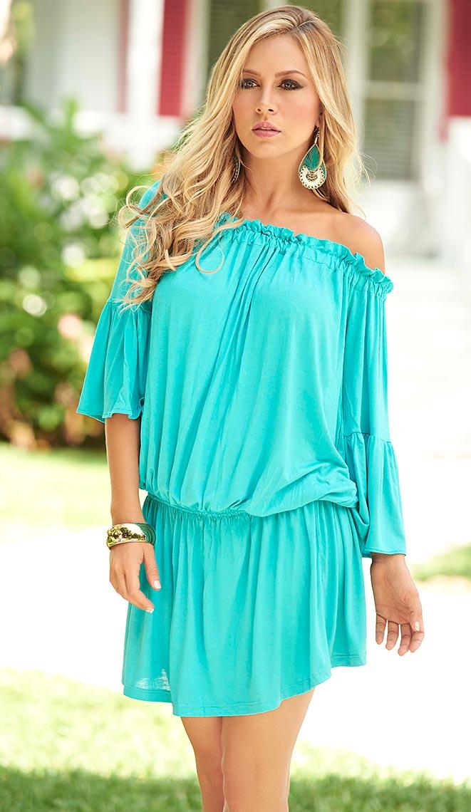 Elastic waist mini dress