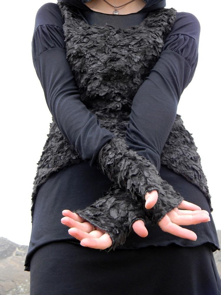Feather fingerless gloves