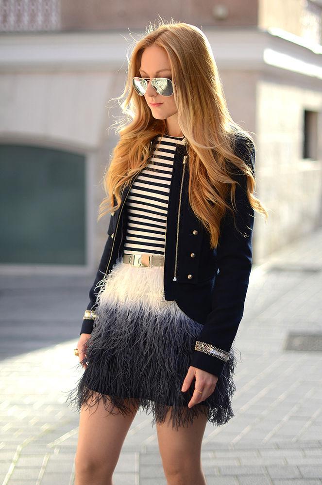 Feather two-tone mini skirt