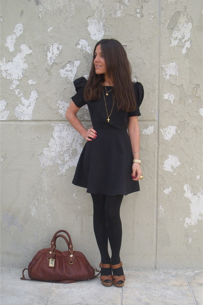 Flare mini dress and opaque tights