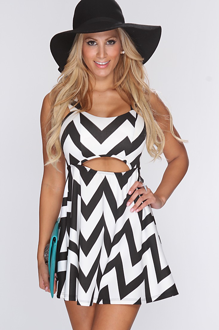 Flirty short chevron dress