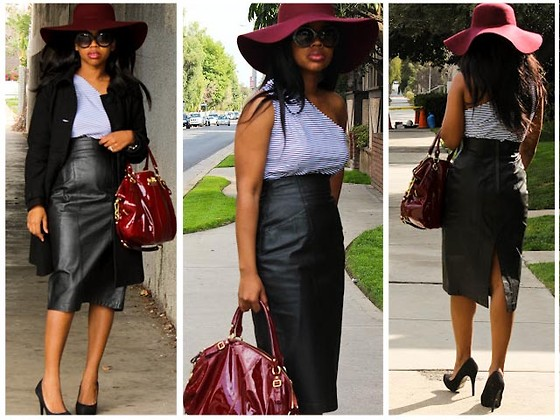 Floppy hat with a leather skirt