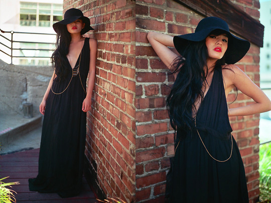 Floppy hat with black maxi dress