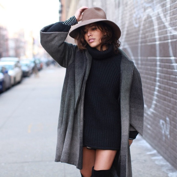 Floppy hat with sweater dress