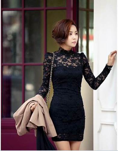 Floral black lace dress
