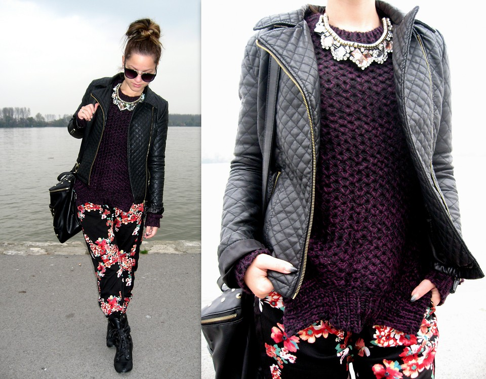 Floral drawstring pants and quilted jacket