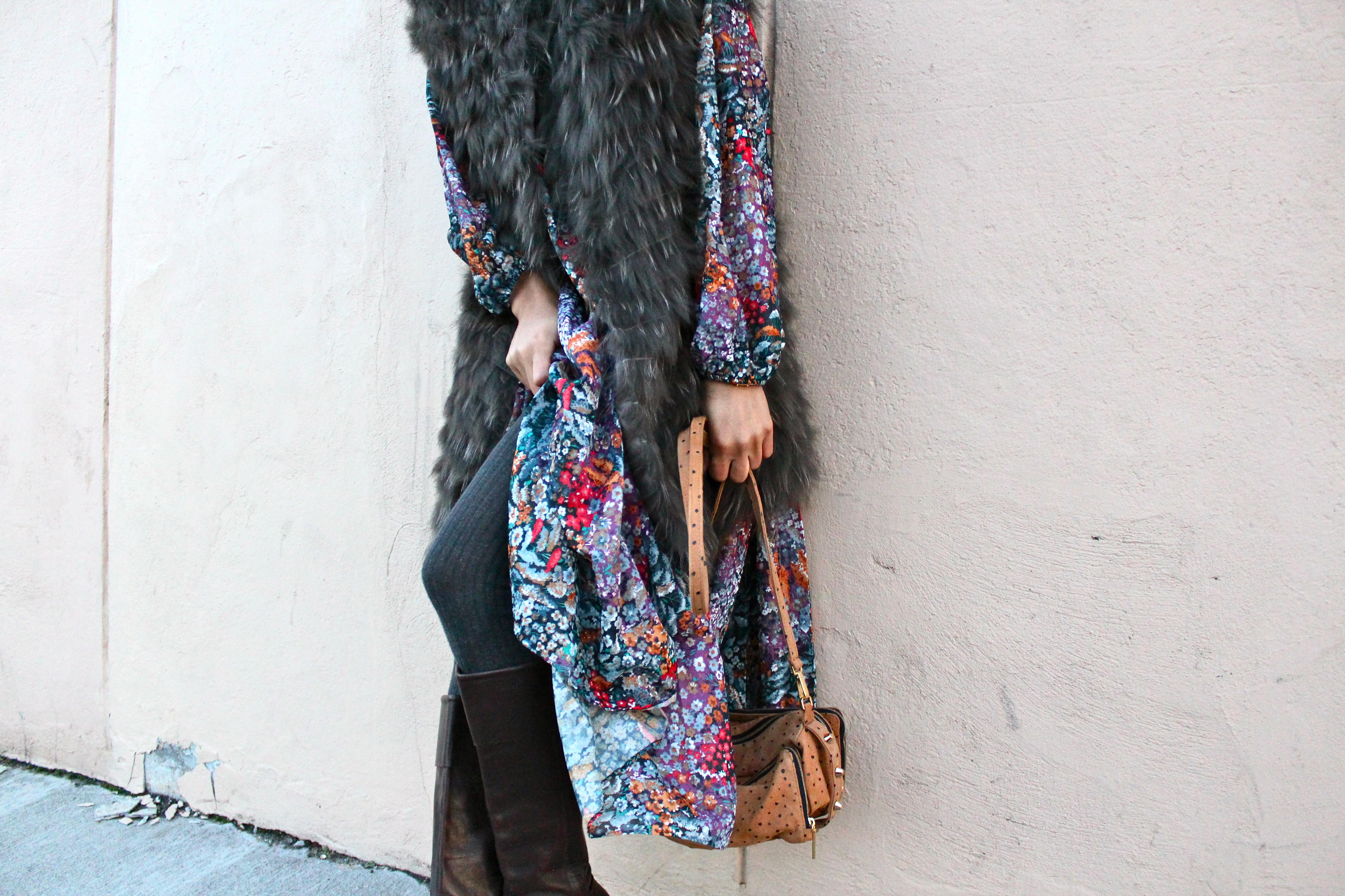 Floral dress and long fur vest