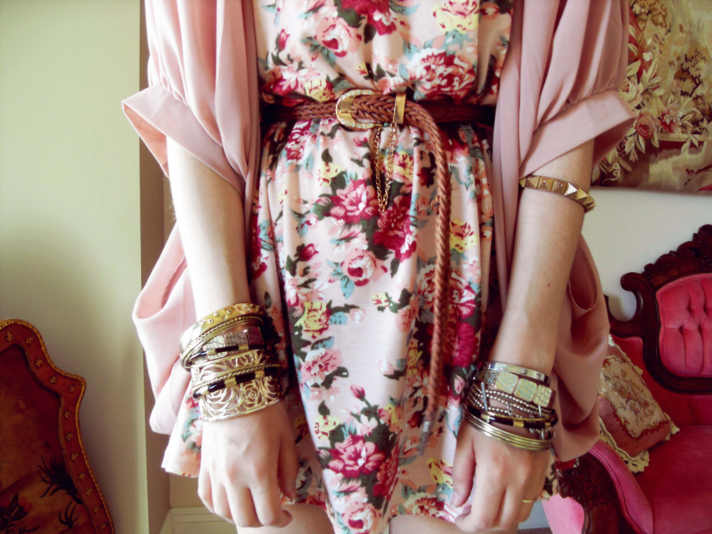 Floral dress and silk jacket