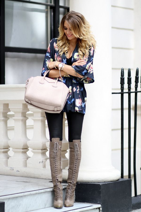 Floral kimono jacket and lace up boots