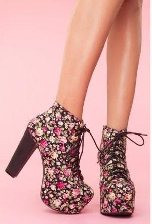 Floral platform ankle boots