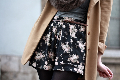 Floral shorts and opaque tights